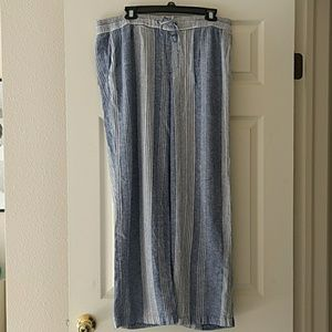 Blue Striped Wide-Leg Linen Pants
